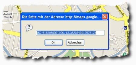 Dialogbox mit den Koordinaten bei Google Maps